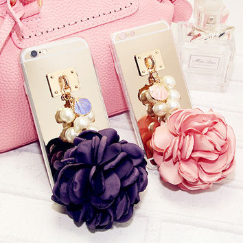 Flower String Pearl Mirror TPU Case Cover For Iphone 7 6 6S Plus 5S 4S Samsung Galaxy Note 7 5 4 3 S5 4 3 S7 S6 Edge Plus A5 7 8
