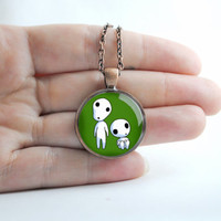 Princess Mononoke Kodama Antique Copper Cameo Pendant Necklace