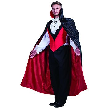 Black Vampire Man High Quality Stand Collar Dead Cosplay Party Wear Vampire Costumes Halloween Cloak Long Adult Costumes
