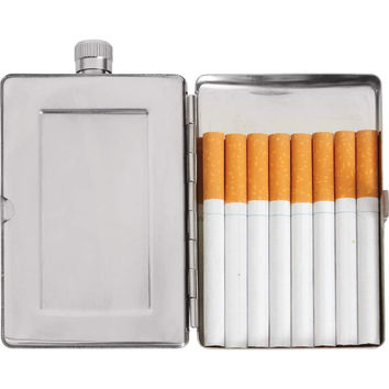 Maxam® 2.5oz Stainless Steel Flask with Cigarette Holder