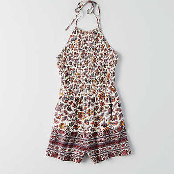 AEO Smocked Tie Neck Romper , Cream