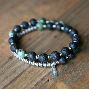 Lava Rock and African Turquoise Men's Wrap Bracelet, Throat Chakra Bracelet