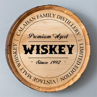 Personalized Whiskey Barrel Signs - Family Distillery - 20 diam.in. | www.hayneedle.com