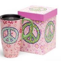 """Ceramic Coffee Travel Mug with Lid - Peace Sign Design - Comes Gift Boxed - 19 Oz - 6.25"""" Tall"""
