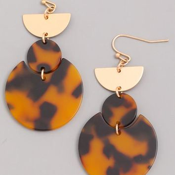 Acrylic Mystery Dangle Earrings - Tortoise