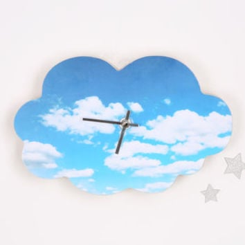 Cloudy Sky Print Wall Clock
