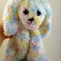 Fuzzy Bunny Crocheted Security Blanket - Lovey (Multi-Colored Blue, Pink, Yellow, Teal and White) IN-STOCK