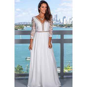 White Crochet Top Maxi Dress with Sleeves