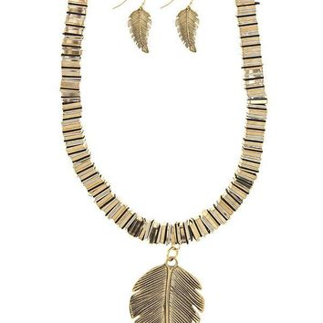 Antique feather rondelles necklace set