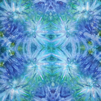 Trippy tie dye tapestry or wall hanging in blue and green