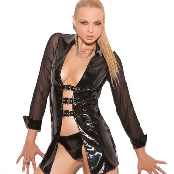 Vinyl long sleeve jacket with buckle front and mesh  sleeves Black