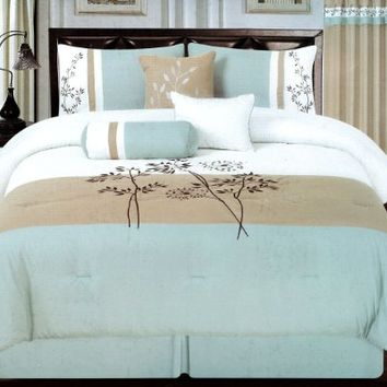 7 Pcs Mia Embroidery Floral Comforter Set Bed In a Bag Queen Aqua/Beige/White