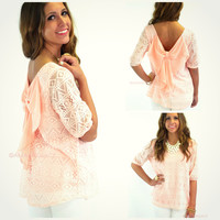 Jericho Peach Bow Back Top