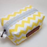Boxy Cosmetic Bag. Make up Bag. Yellow Chevron Bag. Toiletry Bag. Zippered Bag. Bridesmaid Gift. Fabric Cosmetic Bag.
