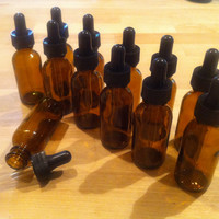 12 x 1oz Amber Glass Eye Dropper Bottles - Essential Oil Storage Bottles