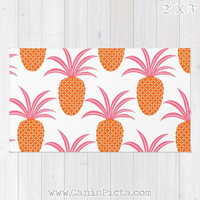 Pineapple Ananas RUG Hot Pink Neon Orange Fruit Bright Home Decor Accent Decorative Kids Gift For Spring Summer Fresh