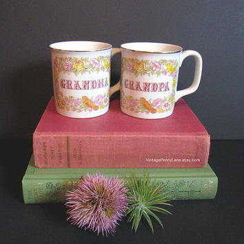 Vintage Grandma and Grandpa Mugs Set, Coffee Cups, Floral / Bird Design by JAPAN