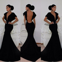 Black Deep V-Neck Cutout Back Mermaid Evening Gown