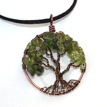 Tree Of Life Necklace Peridot Pendant Brown Chain and Wire Wrapped Tree Semi Precious Gemstone Jewelry February Birthstone Jewelry