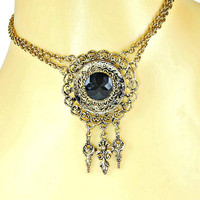 Victorian Revival Swag Necklace Black Rhinestone Pendant Double Chain Antiqued Gold Tone with Dangles