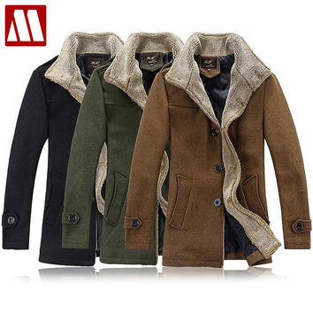 New men's winter wool coat Fashion Fur Lapel long paragraph slim fit men jackets men outwear Trench Coat
