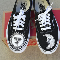 Hand Painted Sun and Moon on Black Vans Authentic Shoes