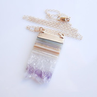 Druzy Amethyst Necklace - Slice Style - February Birthstone - Long Style - BEST SELLER