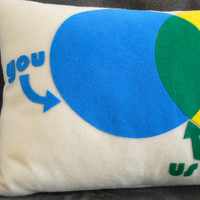 You and Me Venn Diagram Pillow Perfect for by diffractionfiber