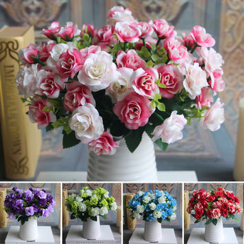 Austin Bunch 15 Heads Spring Silk Flowers Artificial Rose Wedding Floral Decor Plant Flower Arrangement Home Decor