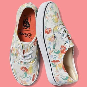 DCCKIJG Vans Old School Disney Mermaid Canvas Print Flats Sneakers Sport Shoes