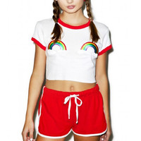 Contrast Trim Rainbow Embroidered Crop Top