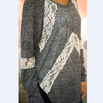 Gray Cutout Lace Long-Sleeve Shirt