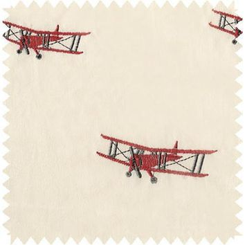 Bi-Plane Red Fabric By The Yard   100% Cotton