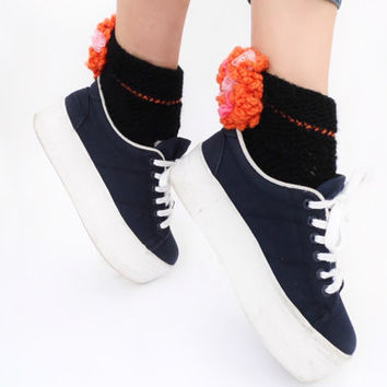 Pumpkin Orange Ruffle socks Lace ankle cuffs Boot socks Lolita Pastel Goth Rave Retro disco Wool Knit Warm socks Soft Grunge