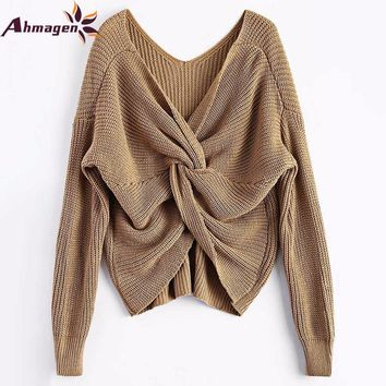 Ahmagen 2017 New 8 Colors V Neck Twisted Back Sweater Women Jumpers Pullovers Long Sleeve Christmas Knitted Sweaters Pull Femme