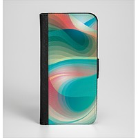 The Vivid Turquoise 3D Wave Pattern Ink-Fuzed Leather Folding Wallet Case for the iPhone 6/6s, 6/6s Plus, 5/5s and 5c