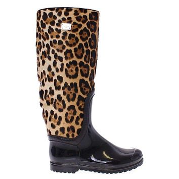Black Rubber Leopard Pony Leather Rain Boots