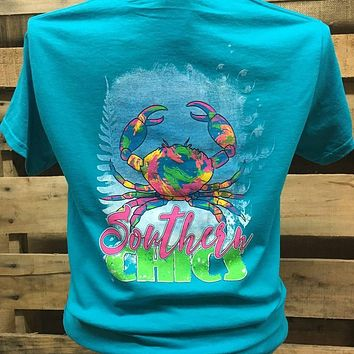Southern Chics Preppy Watercolor Crab Pattern Bright Girlie T Shirt
