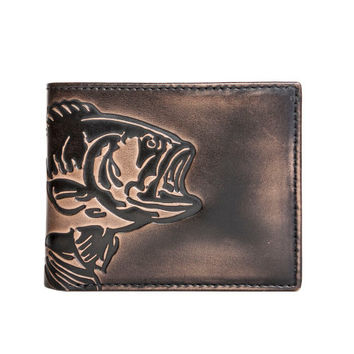BASS FISH Double ID Bifold Wallet -  Men's Leather Wallet  - Personalized Wallet- Men's Gifts
