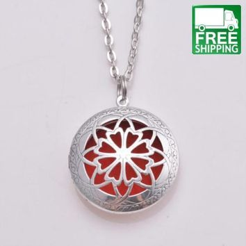 Round Filigree Locket and Oil Diffuser Necklace