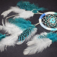 Car  Accessory for women, Small Emerald  Car Dreamcatcher with Turquoise heart,  Rear View Mirror.