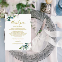 Greenery gold wedding thank you card template, Editable thank you letter template, Modern printable thank you note on table Instant download