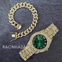 Raonhazae Hi Hop Iced Lab Diamond Meek Mill Drake Green Face 14K Gold Plated Watch with 12mm Cuban Link Bracelet Set