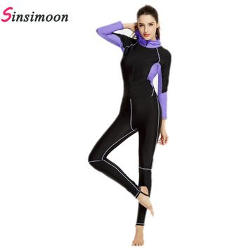 Women Long Sleeve Swimsuit Quick Dry One Piece Bathing Suit with Hat Patchwork Bathing suit