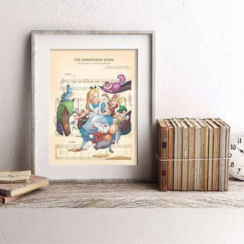 Alice in Wonderland Characters The Unbirthday Song Sheet Music Art Print