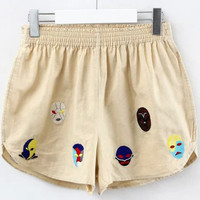 Apricot Mask Embroidered Elastic Waist Mini Shorts