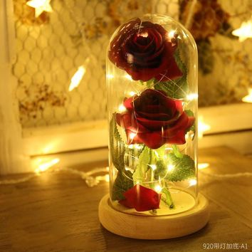Beauty and the Beast Rose Lamp Full Kit Red Silk Rose and Led Light with Fallen Petals in Glass Dome for Valentine's Gift