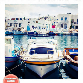 Square digital download, Greece printable, fishing boats in a row, travel photography, harbor, sea, Greek architecture, wall art, home decor