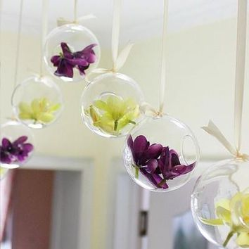 Fashion New Tiny Hot Clear Glass Globes With 1 Hole Flower Hanging Vase Hydroponic Home Office Wedding Decor