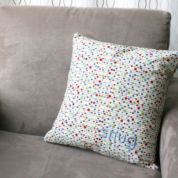hand embroidered pillow cover - snug - word pillow, decorative throw pillow, polka dot pillow, handmade embroidered cushion cover